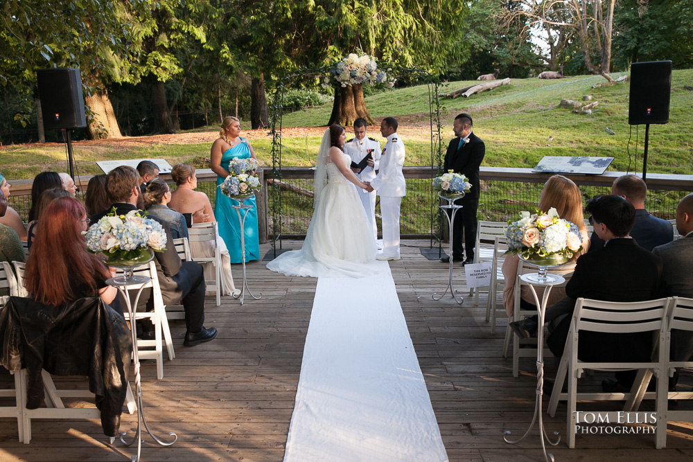 Wedding Ceremony On Deck At Woodland Park Zoo Overlooking Northern Habitat