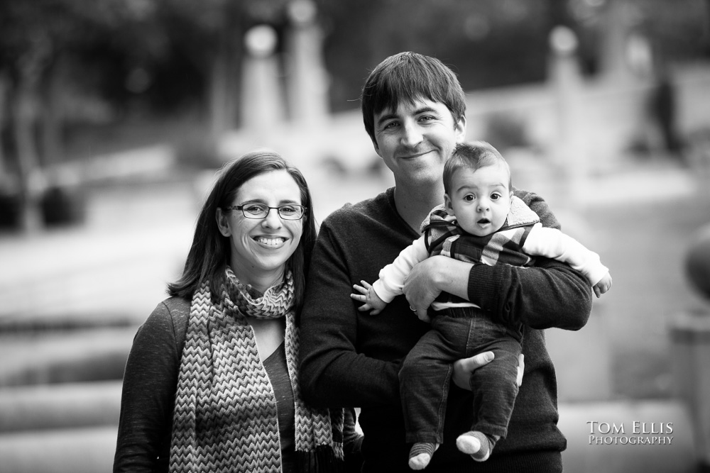Black and white photo of family with baby boy