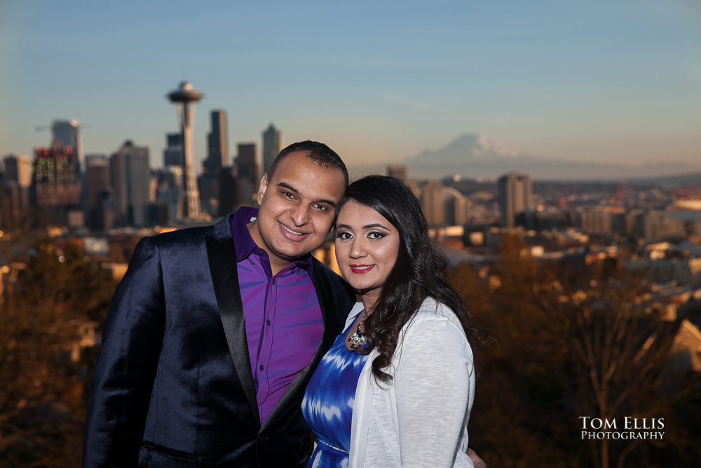 Engagement photo with Indian couple at Kerry Park in Seattle, Space Needle and Mt. Rainier in the background