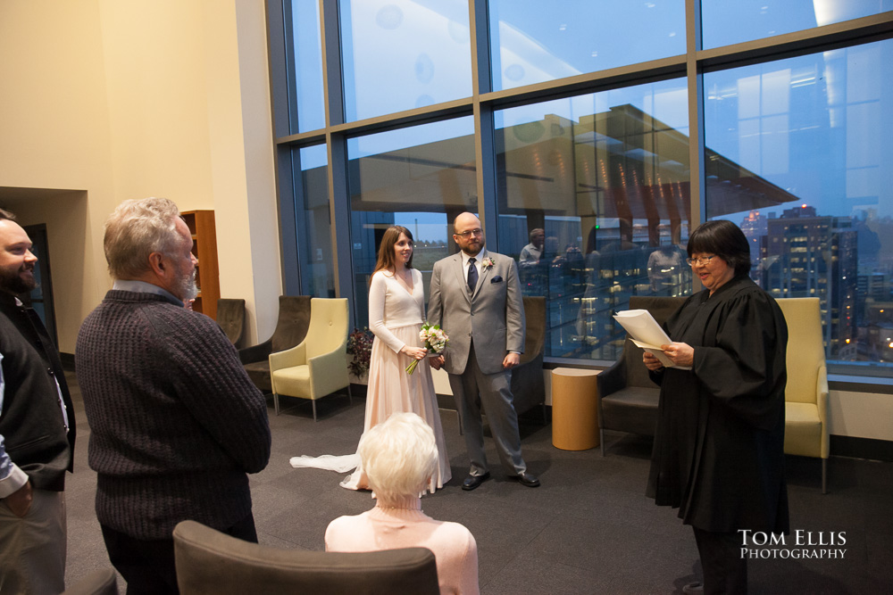 Julia and Matt's wedding ceremony at the Seattle Municipal Courthouse