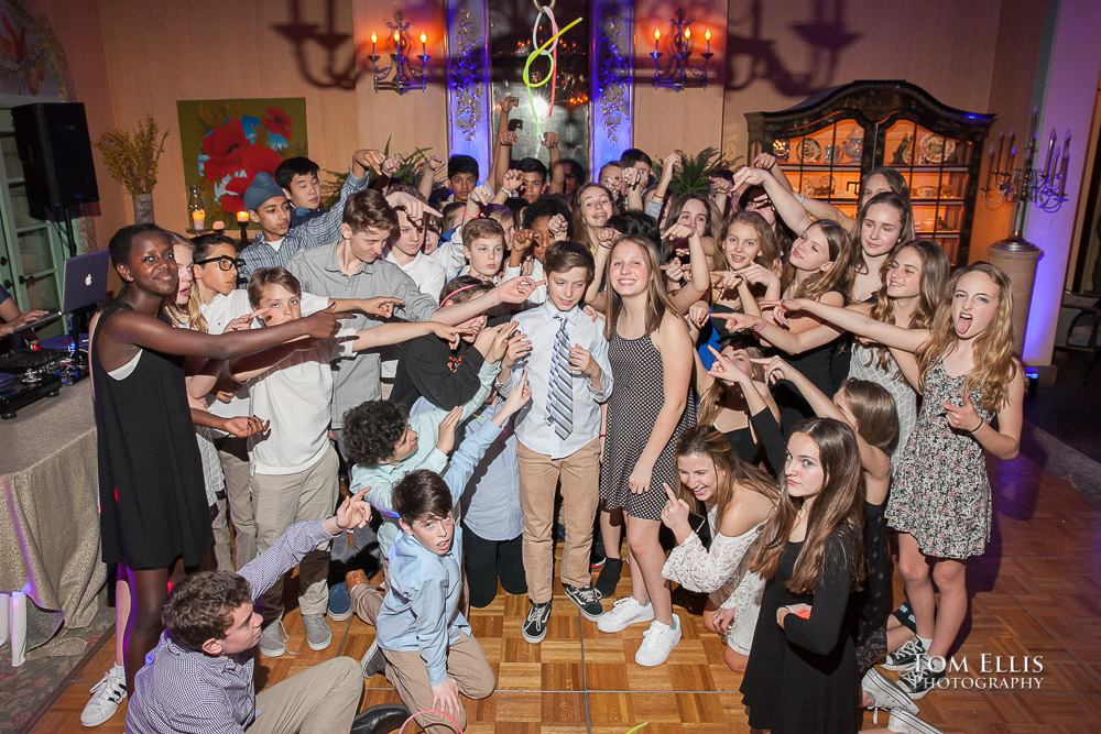 Sam and Isabel surrounded by their friends at their joint Mitzvah party at The Ruins