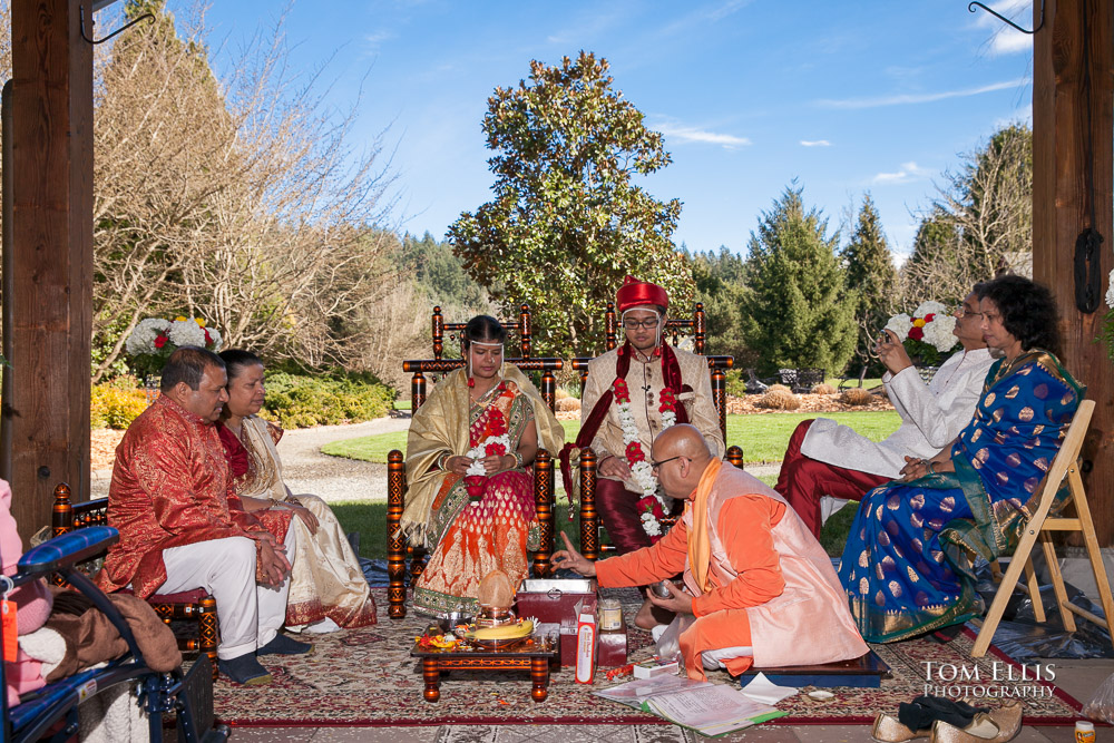 Indian wedding ceremony outdoors at Willows Lodge on a beautiful sunny day