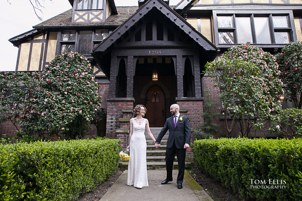 Katrina & Christopher on the front walk at the Stimson-Green Mansion in Seattle