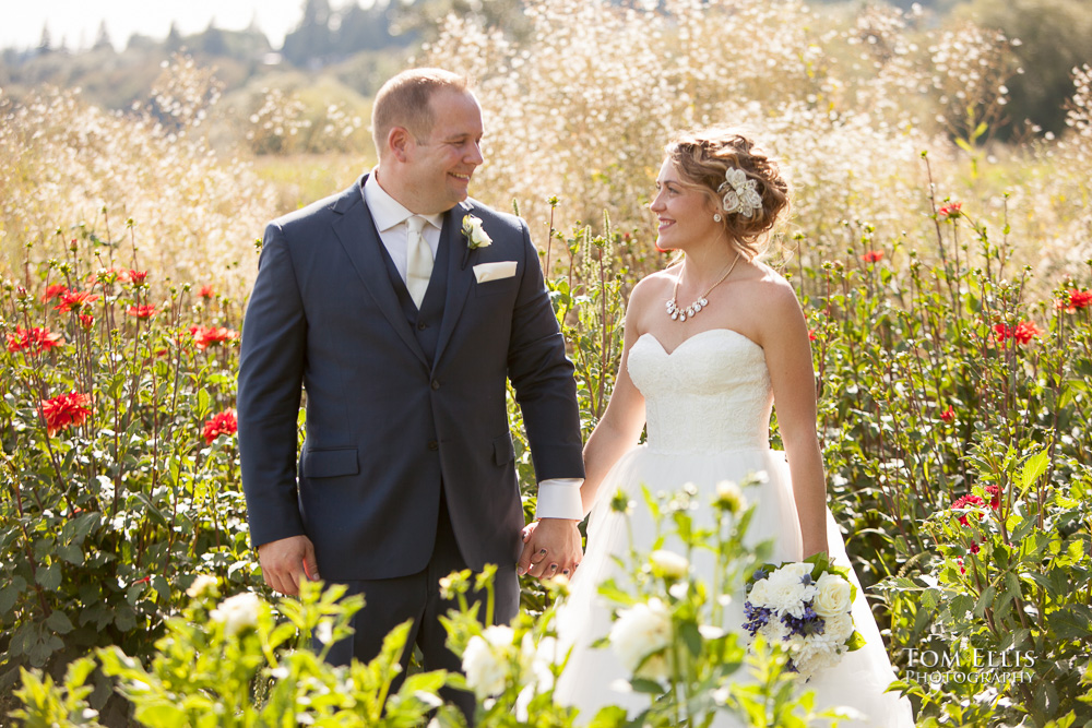 Woodland Meadow Farms wedding, bride and groom in the flower gardens