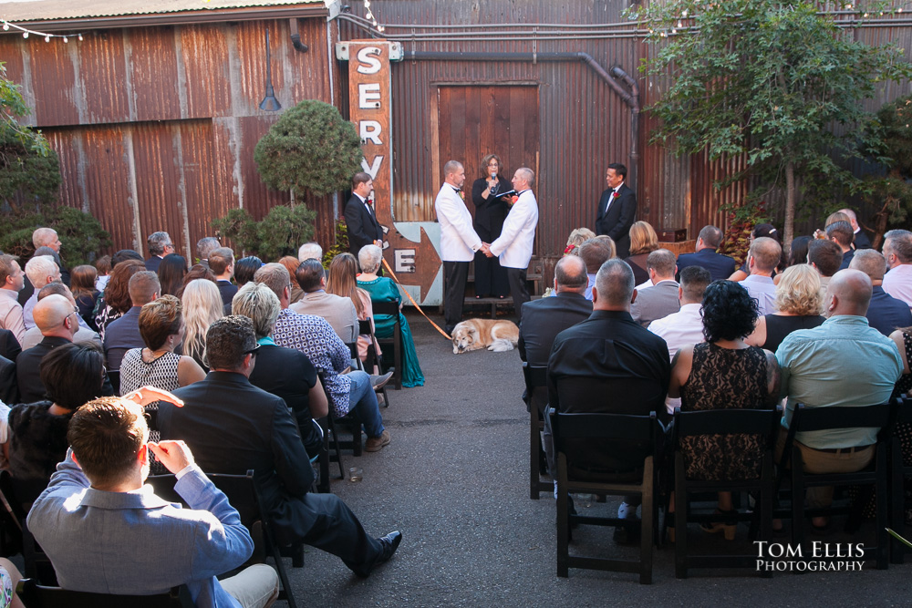 Wedding ceremony of male same-sex couple at the Georgetown Ballroom in Seattle