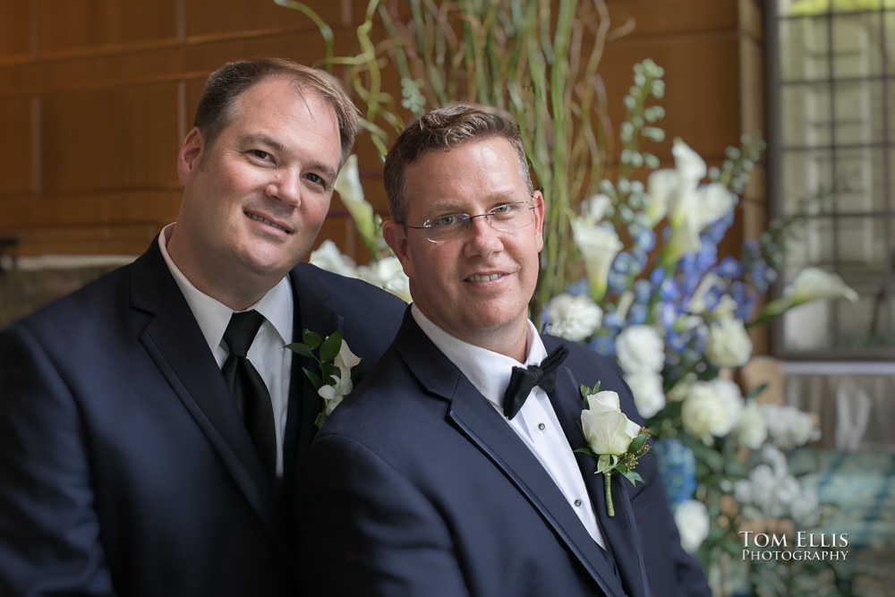 Chris and Matthew pose near the altar before their wedding at the Fairmont Olympic Hotel in Seattle