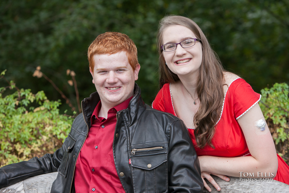 Twins Jay and Delynn pose together during their senior photo session at the Bellevue Botanical Gardens