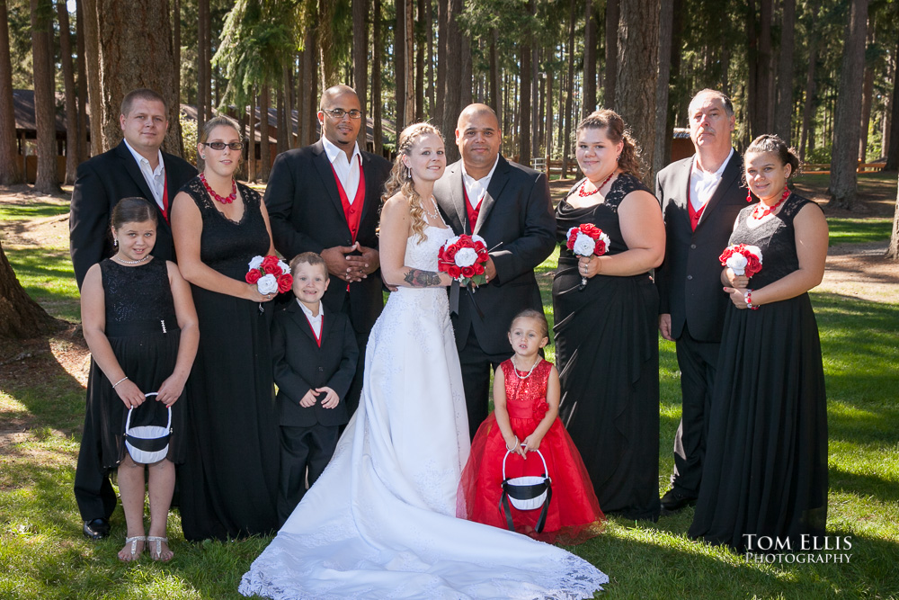 Wedding party posed together for a photo after the Seattle area wedding ceremony in Graham