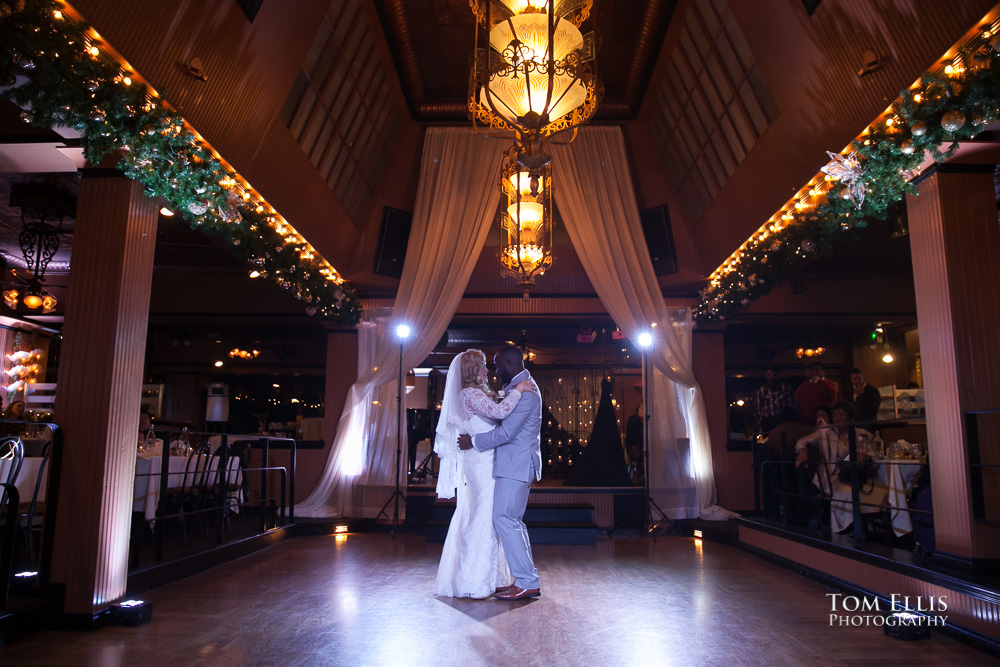 Miriah and Roemon share their first dance as new husband and wife during their Seattle wedding at the Lake Union Cafe