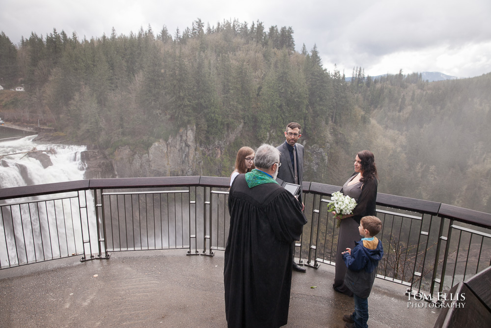 Wedding ceremony on the observation deck at Snoqualmie Falls