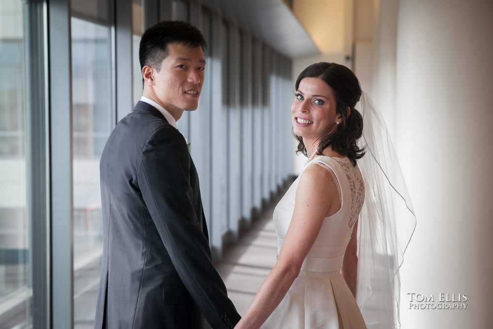 Bride and groom just before their elopement wedding at the Seattle Municipal Courthouse