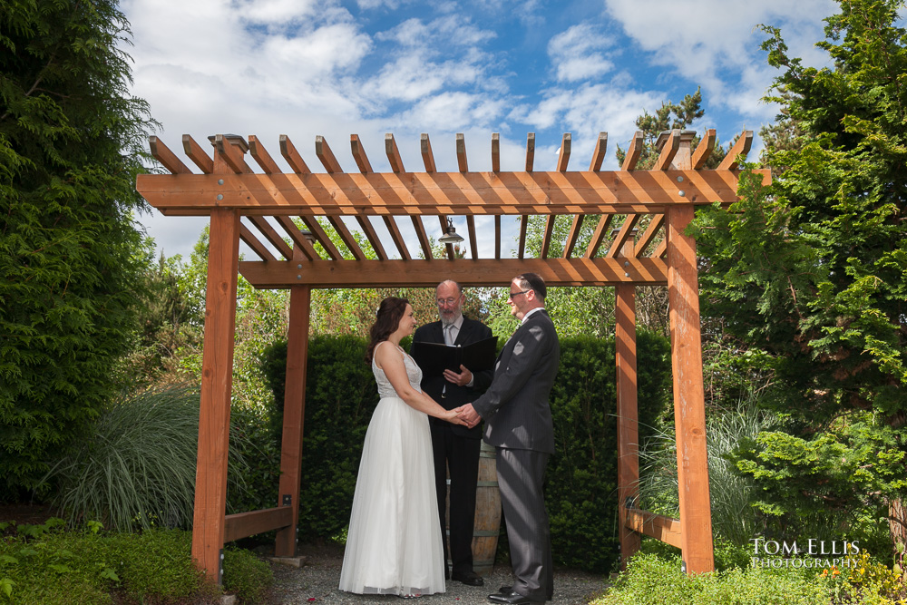 Elopement wedding ceremony in the gazebo at Willows Lodge