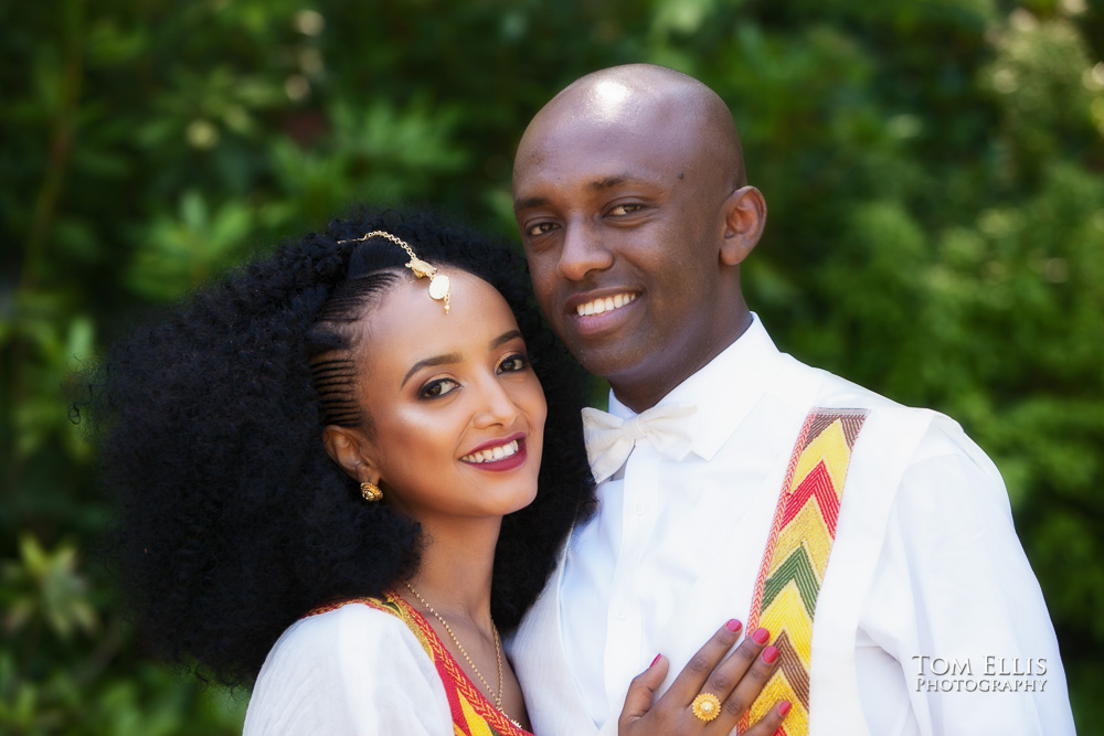 Seattle wedding portrait session at Kubota Garden, close up photo of bride and groom in traditional Ethiopian wedding clothes