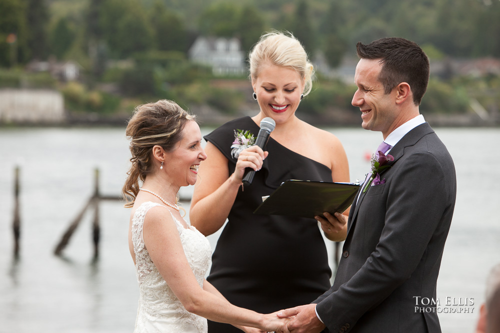 Ballard Bay Club wedding, close up of couple and officiant during the wedding ceremony, Seattle wedding photographer
