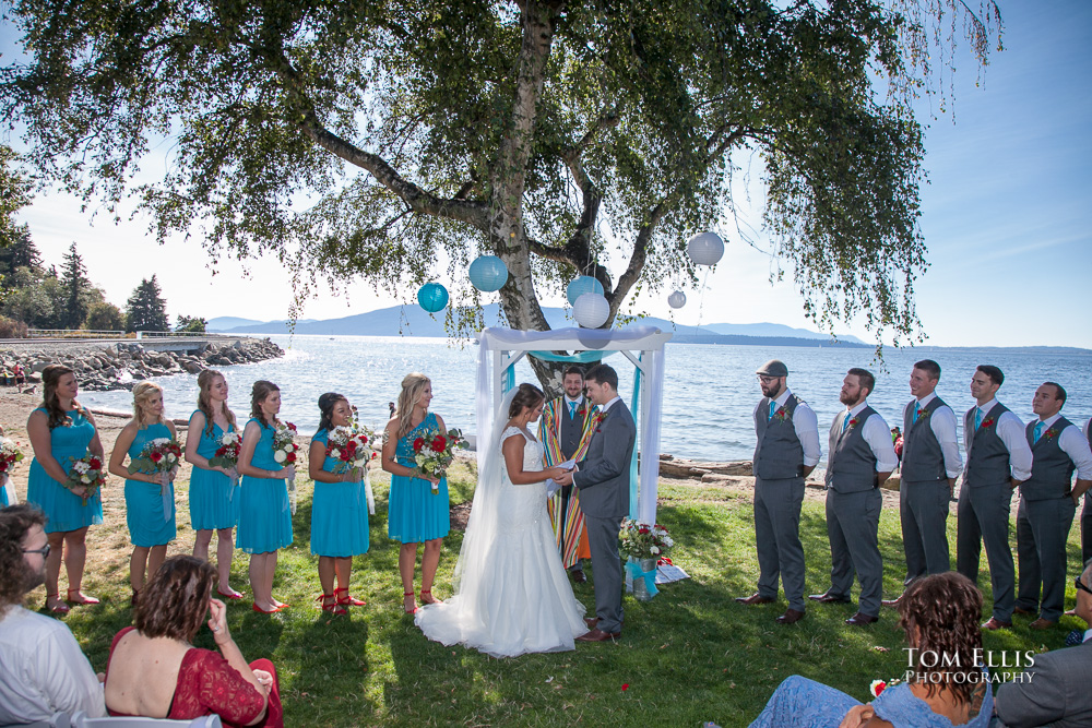 Wedding ceremony on the beach at Marina Park in Bellingham
