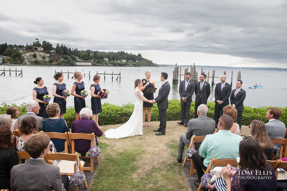 Wedding ceremony with Puget Sound background at the Ballard Bay Club in Seattle
