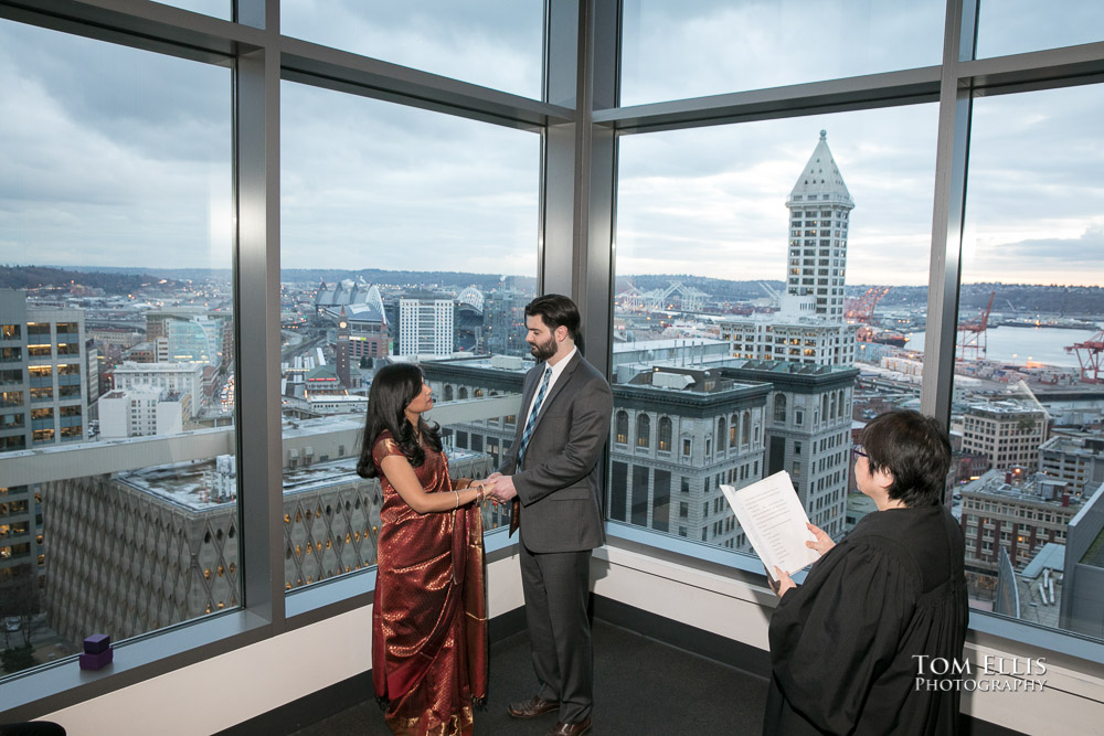 Indoor wedding ceremony at the Seattle Municipal Courthouse