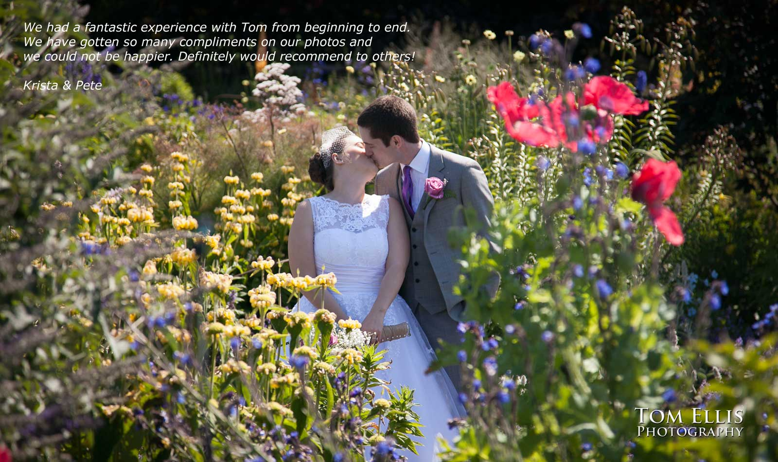 Bride and groom kiss in a beautiful flower garden at their Seattle area wedding