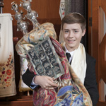 Nate, Bar Mitzvah photo with Torah