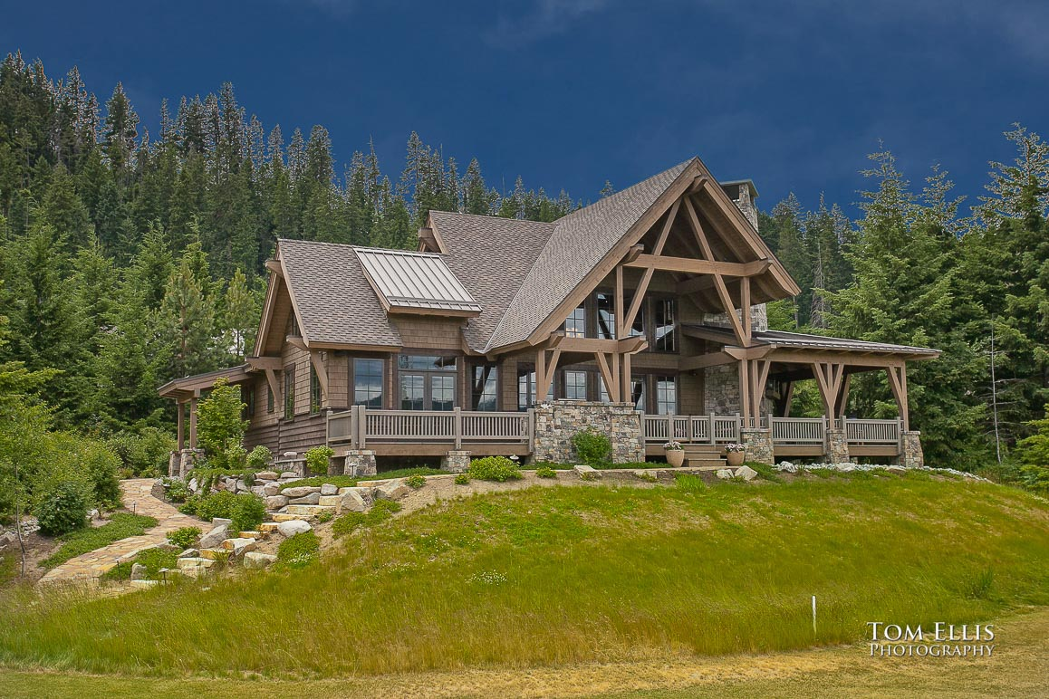 Exterior photo, cabin at Tumble Creek, bkue sky added