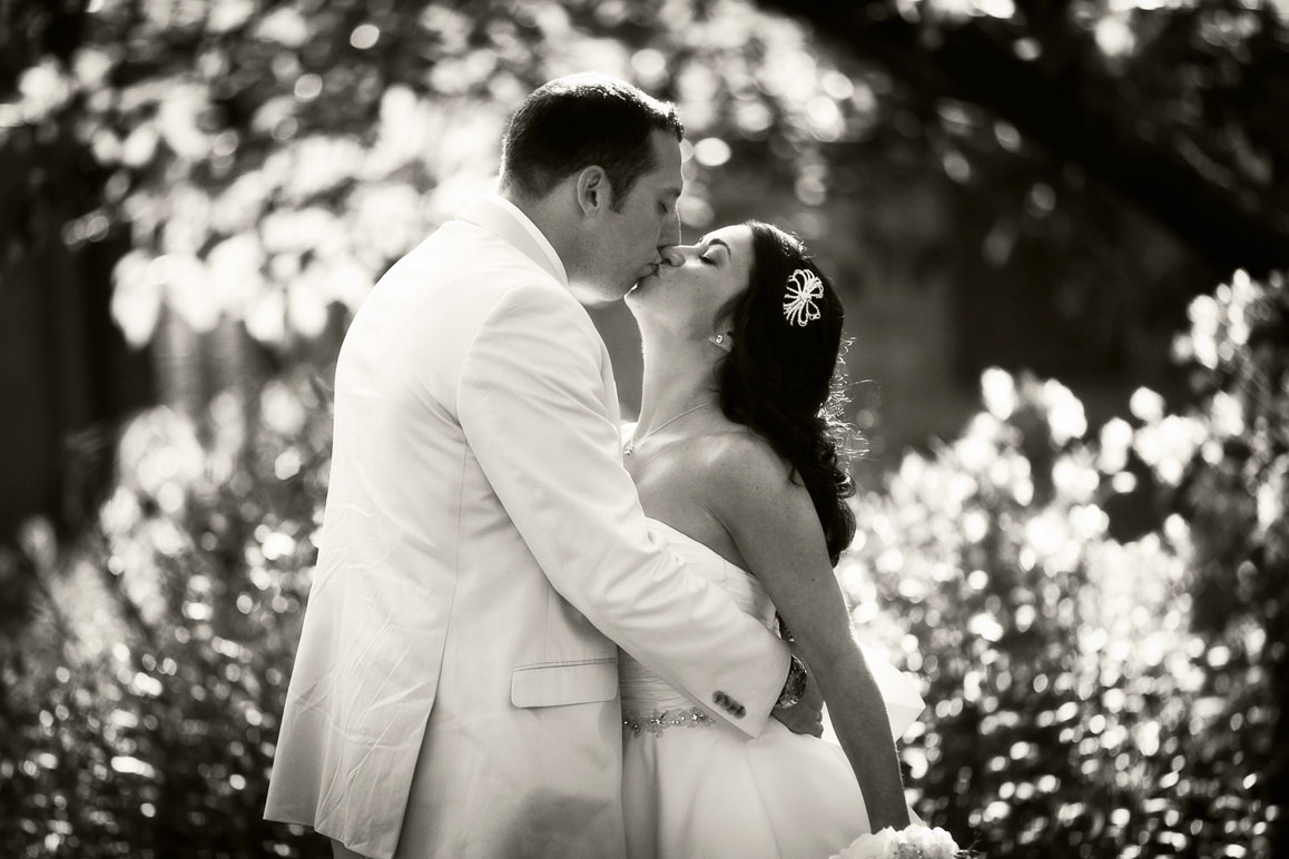 Backlit photo of couple kissing with flowers in background